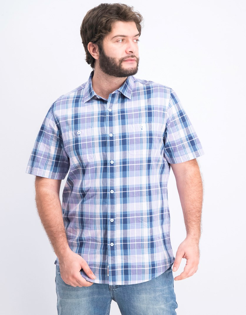 Men's Plaid Shirt, Purple Combo