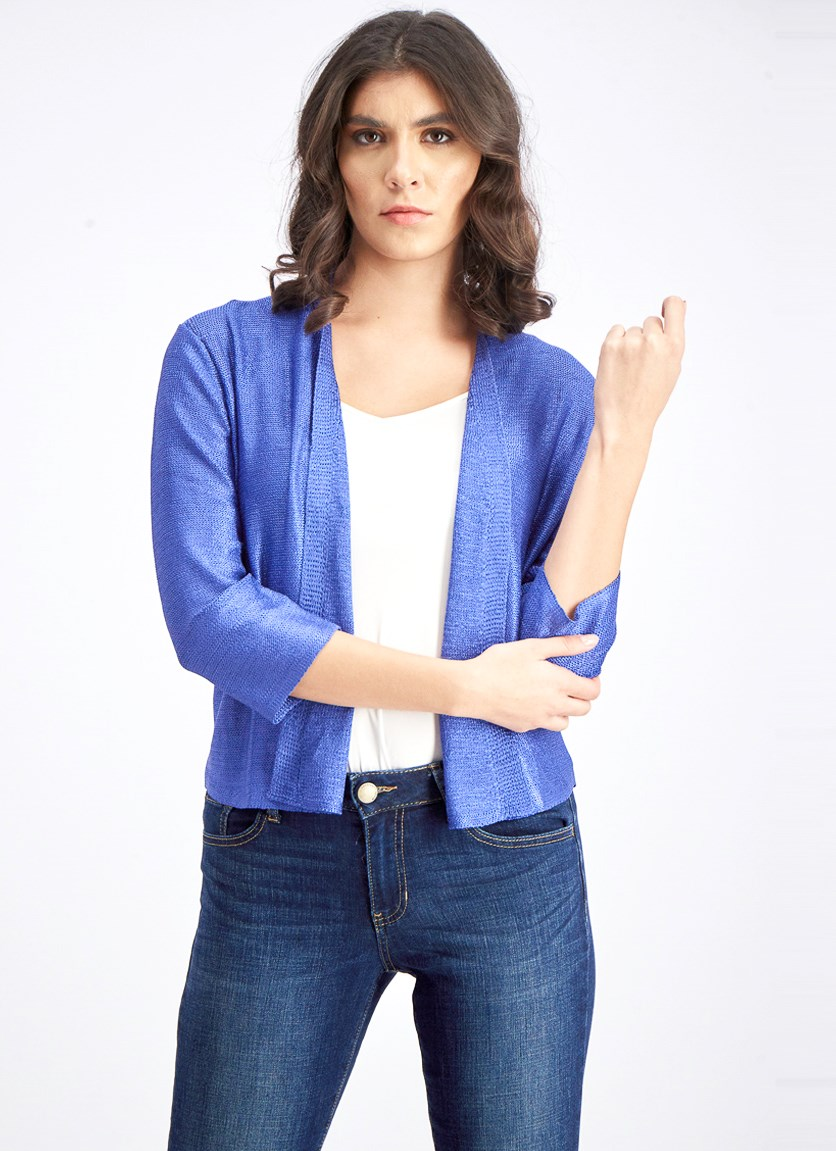 Women's Textured Open Front Cardigan, Royal Blue