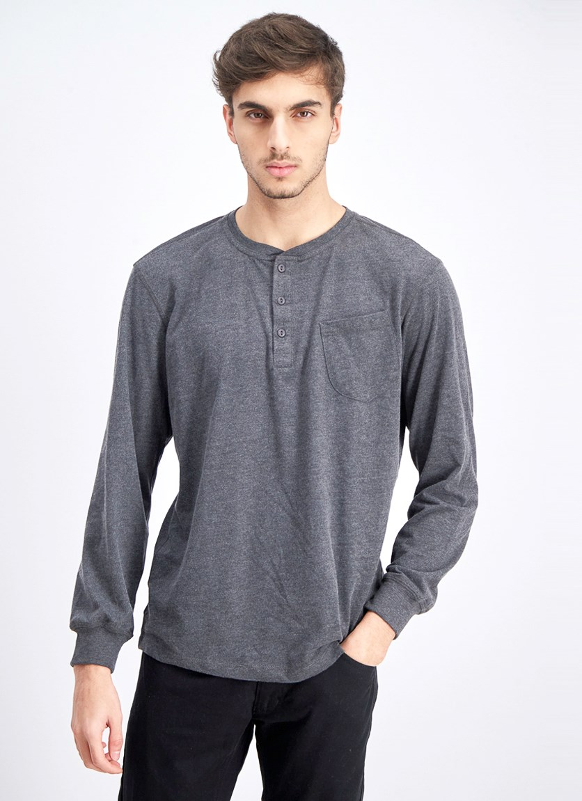 Men's Pullover Long Sleeve T-Shirt, Heather Grey