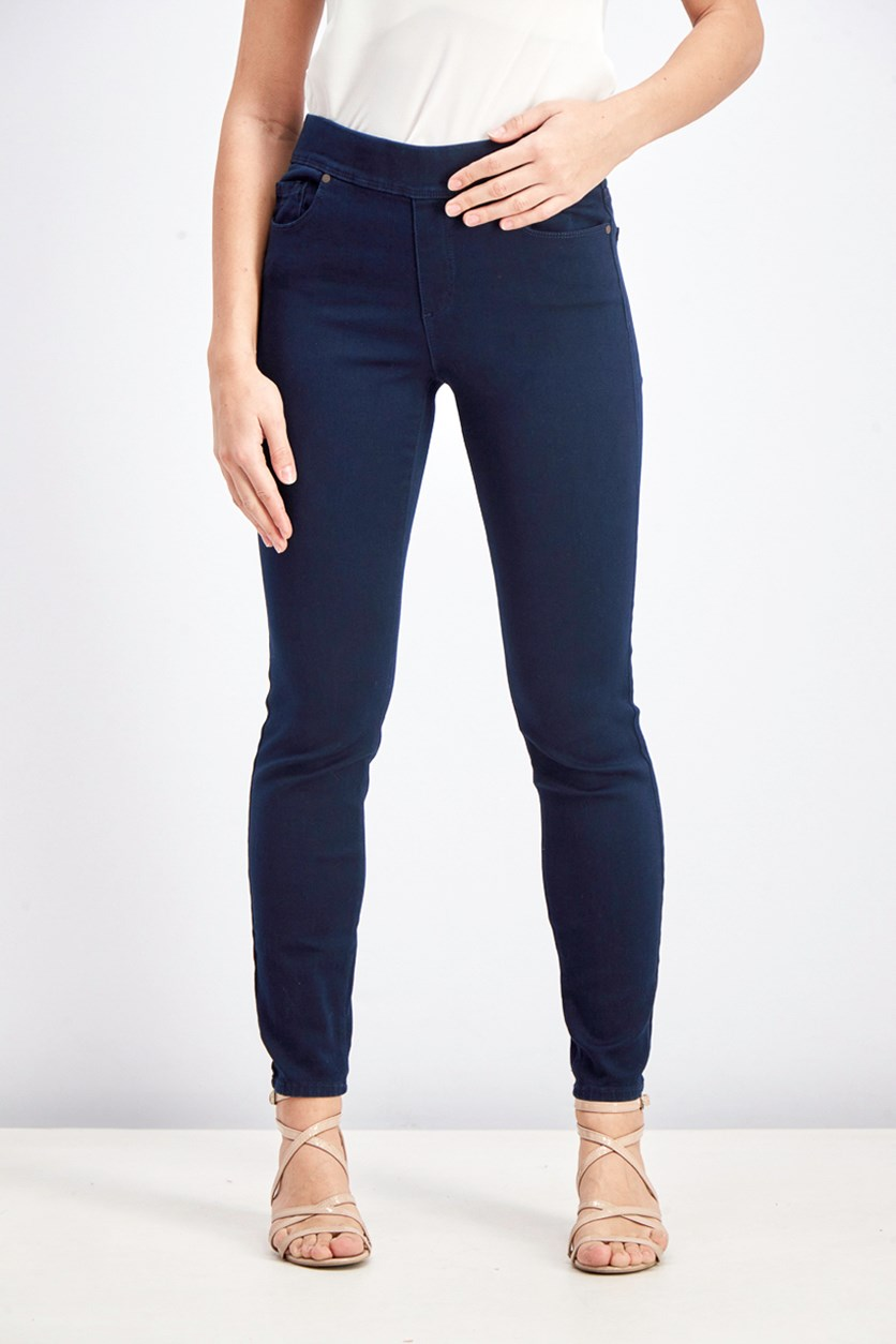 Avery Pull On Slim Leg Mid-Rise Jeans, Rinse Wash