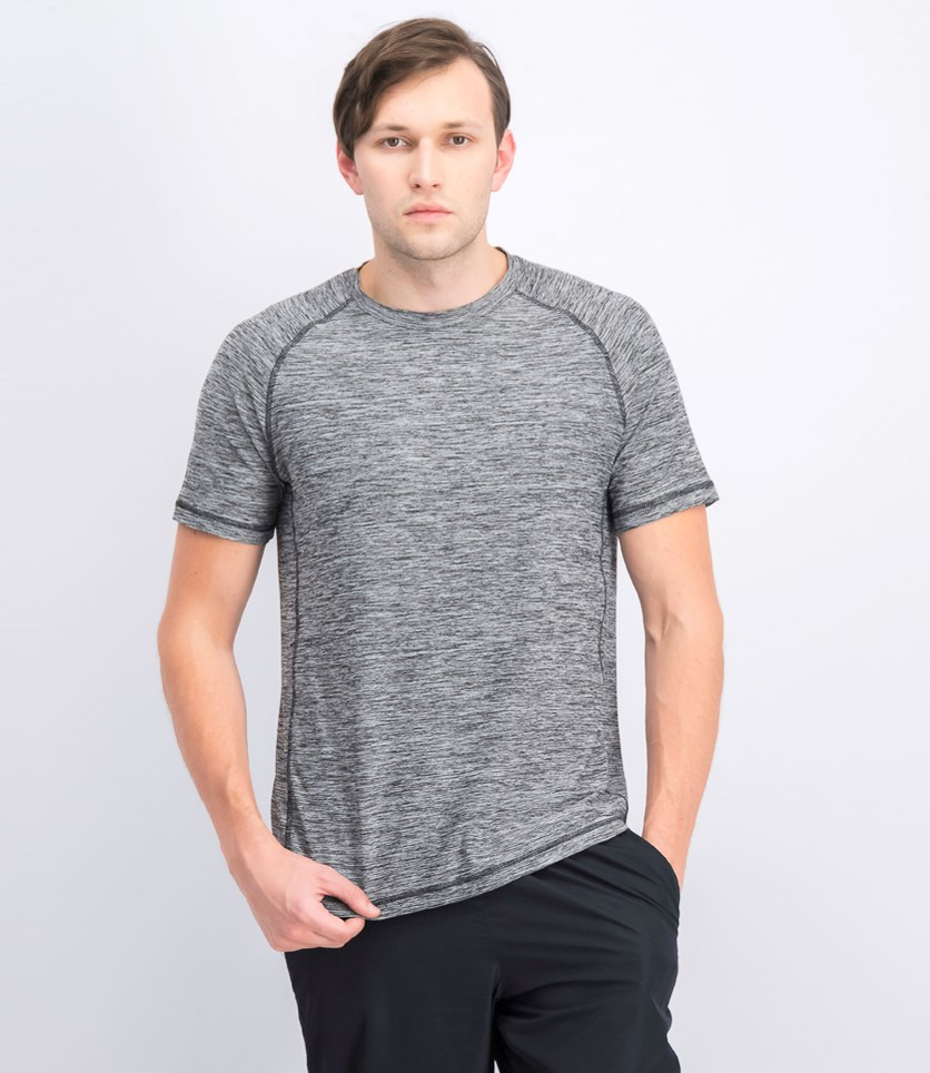 Men's Melange Raglan Crew Neck Tee, Black/Gray