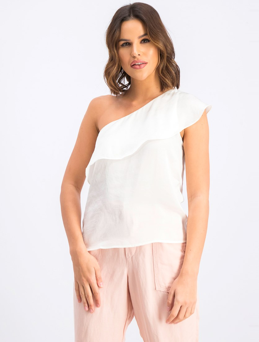 Women's Ruffle One-Shoulder Top, Ivory