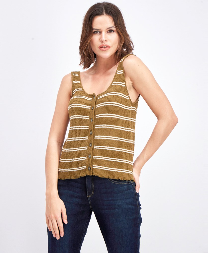 Women's Kingston Stripe Button Front Sweater Tank, Olive