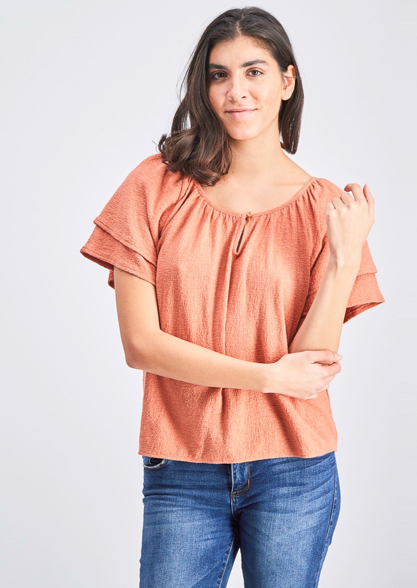 Women's Tiered Sleeve Top, Rust