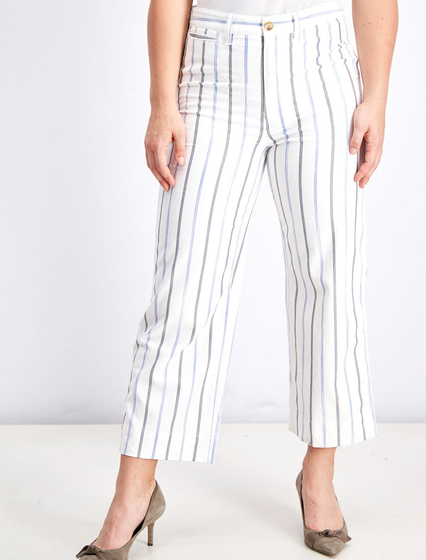 Printed Slim Emmett Wide Leg Pants, White