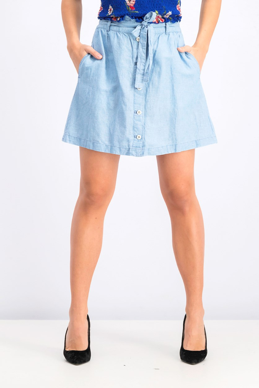 Natasha Cotton Blend Button Front Skirt, Harlow Wash