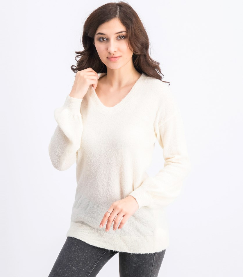 Women's Feather-Yarn Textured Sweater, Off White
