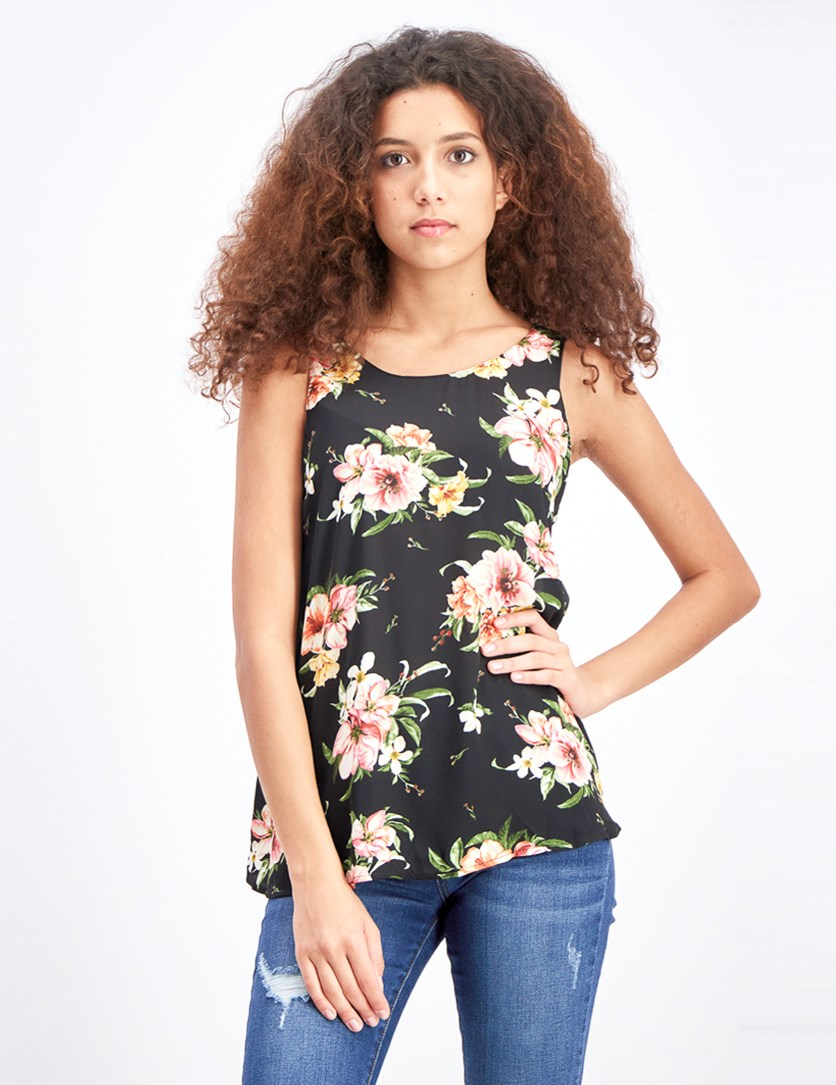 Women's Floral Sleeveless Top, Black Floral