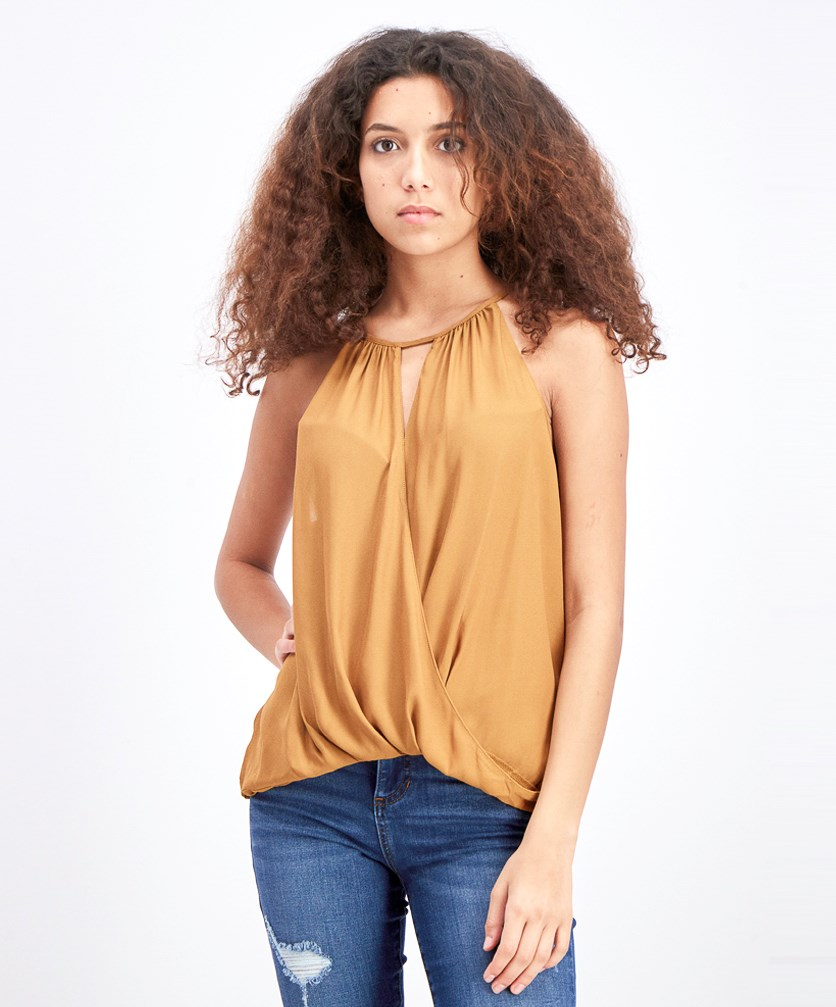 Women's Surplice Sleeveless Blouse, Cathay Spice