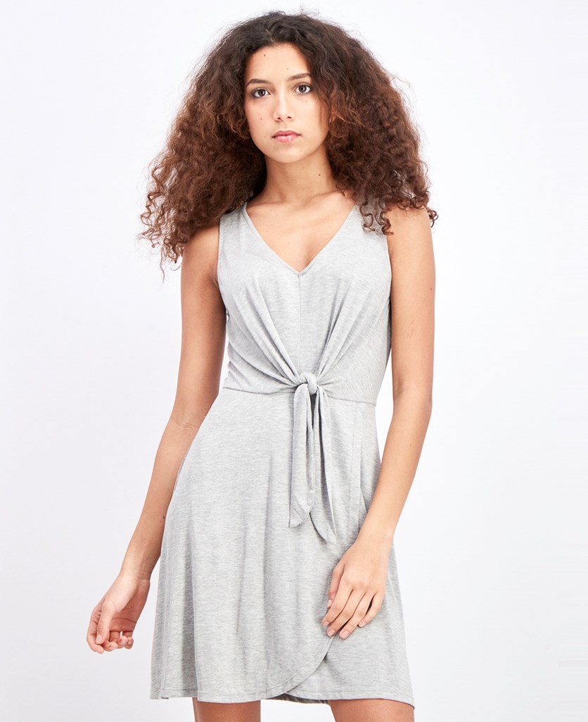 Women's V-Neck Mini Dress, Grey