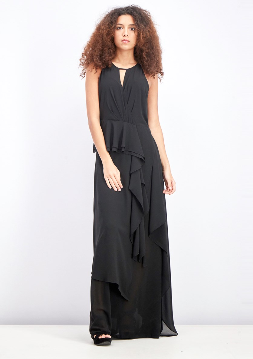 Women's Drape Ruffle Maxi Dress, Jet Black