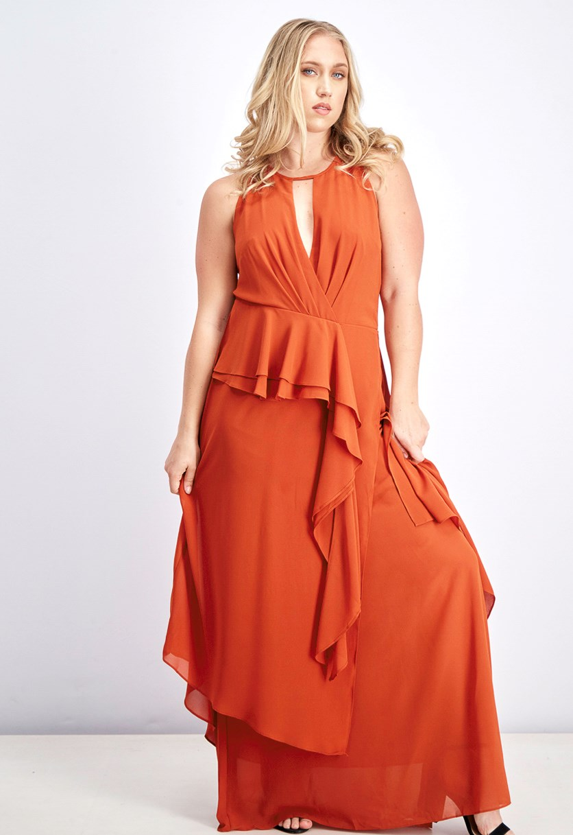 Women's Drape Ruffle Maxi Dress, Rooibos Tea