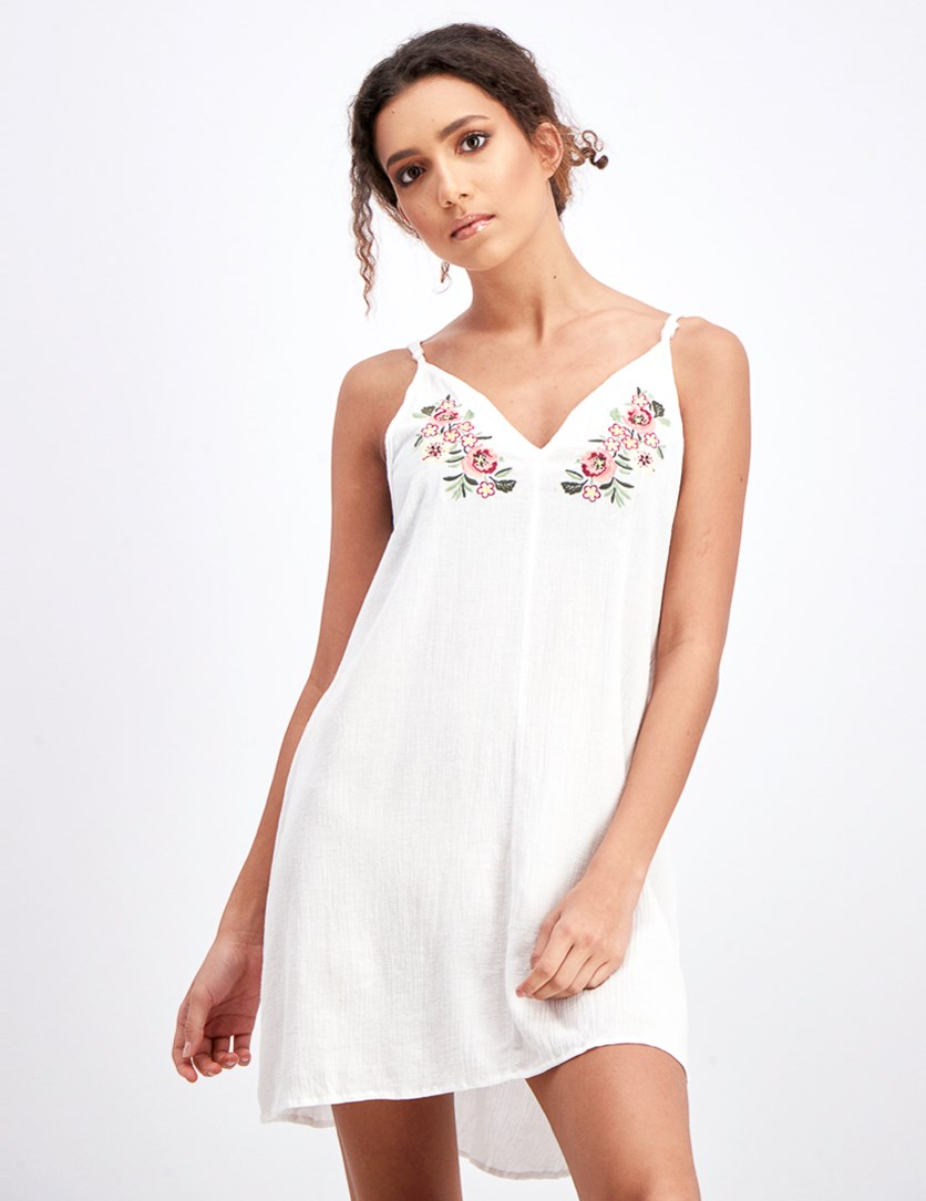 Women's Juniors Embroidered Dress Cover-up, White
