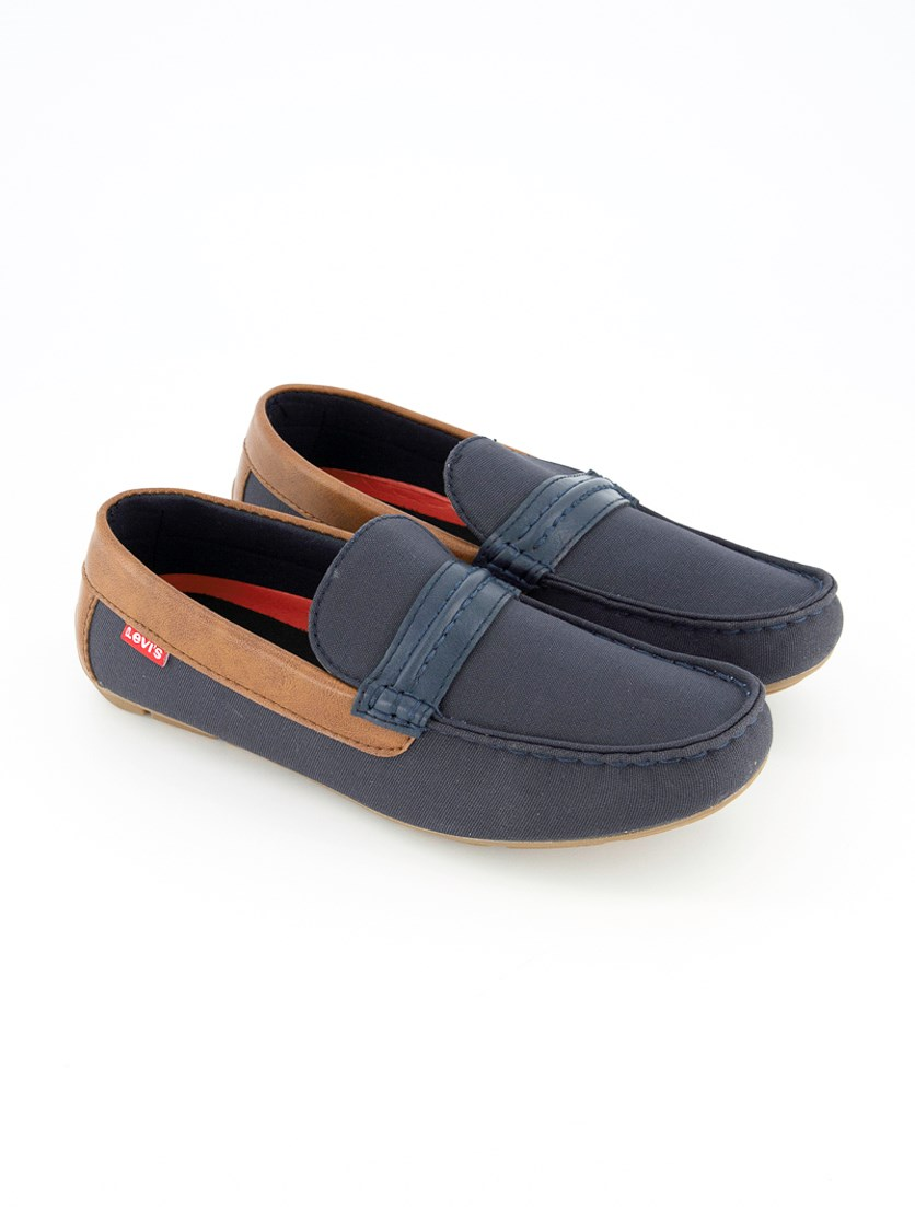 Warren Canvas Burnish Shoes, Navy/Tan