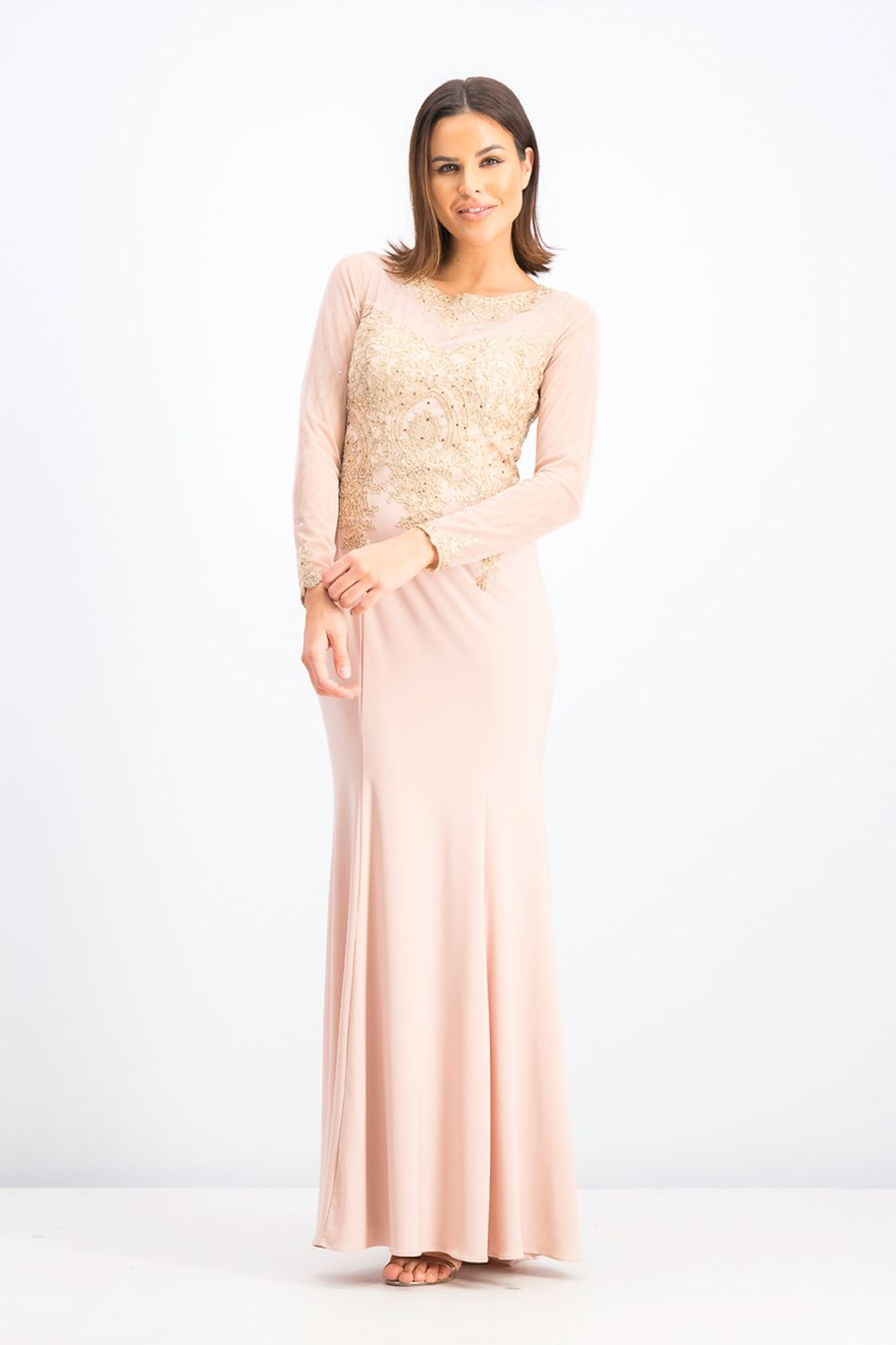 Women's Embroidered Mesh Mermaid Gown, Blush/Gold
