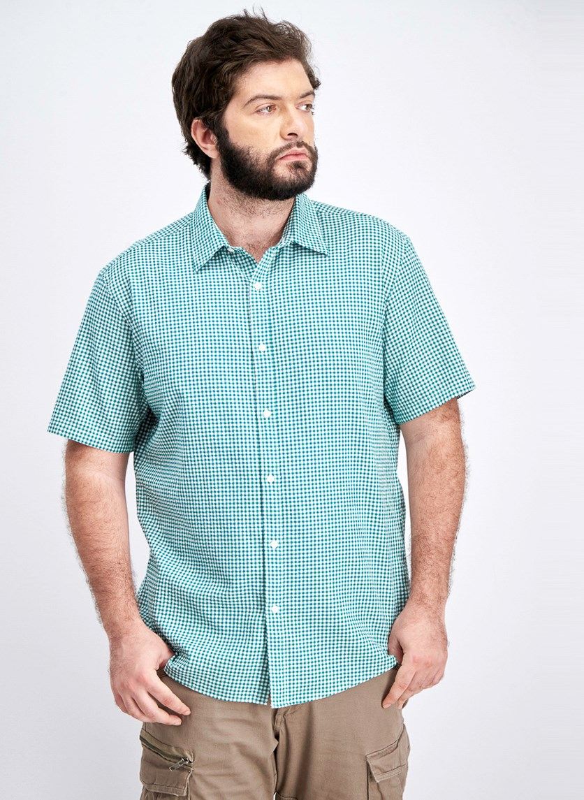 Men's Slim Fit Gingham Shirt, Green/White