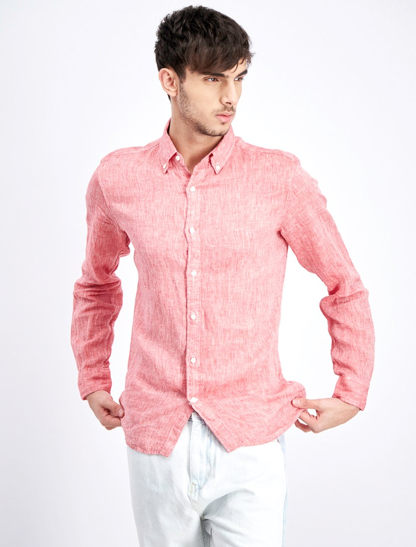 Men's Cross-Dyed Linen Shirt, Red