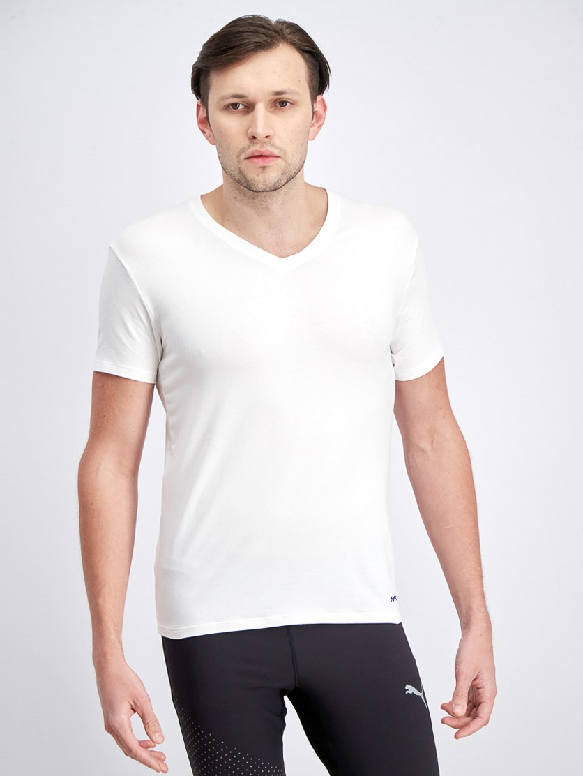 Men's Stretch Factor 2 Piece V-Neck Undershirt, White