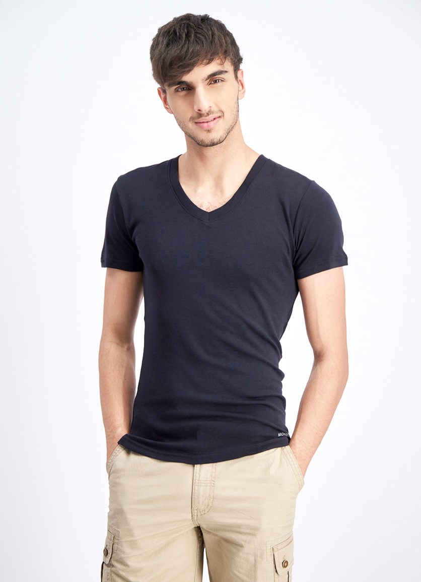 Men's 2-Piece Cotton V-Neck T-Shirt, Black