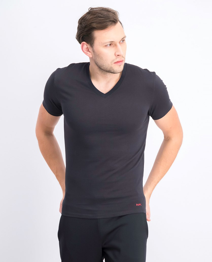 Men's Cotton 3 V-Necks Undershirt, Ruby/Black/Grey