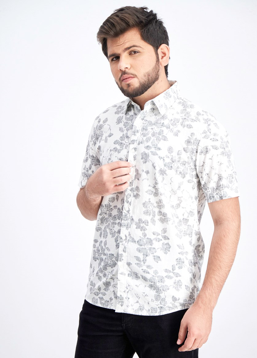 Men's Slim-Fit Reverse Print Shirt, White/Black