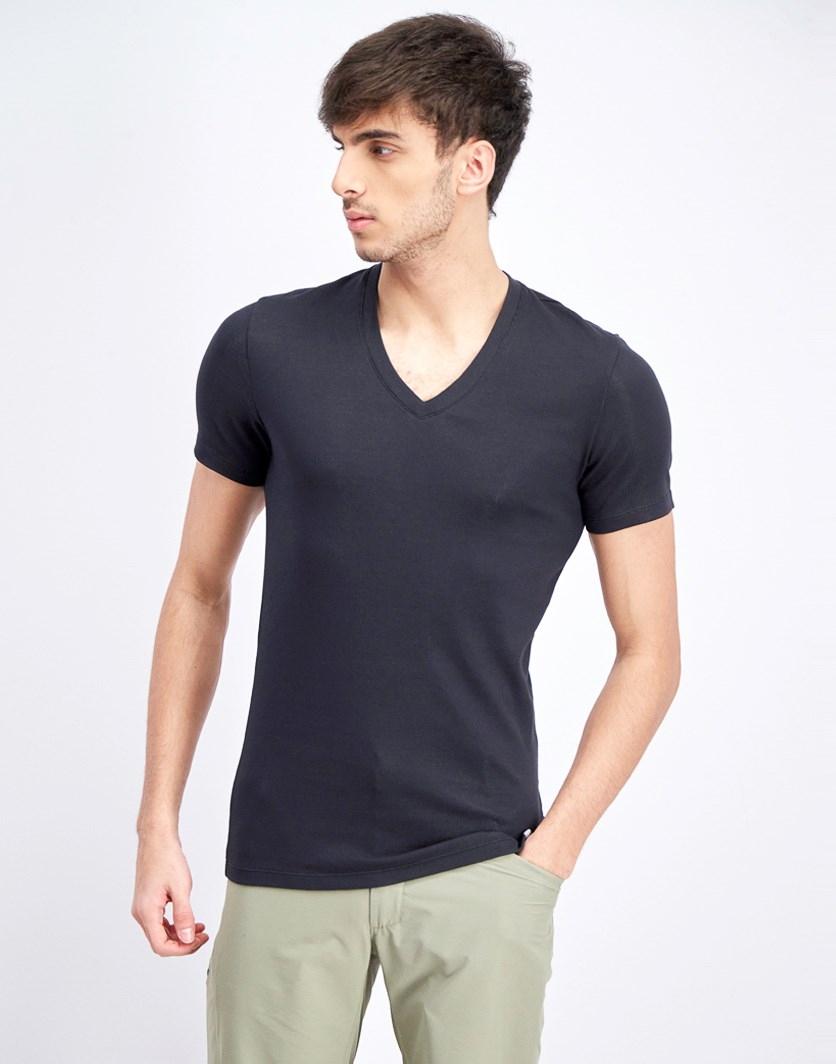 Men's Hybrid 1piece V-Neck Undershirt, Black