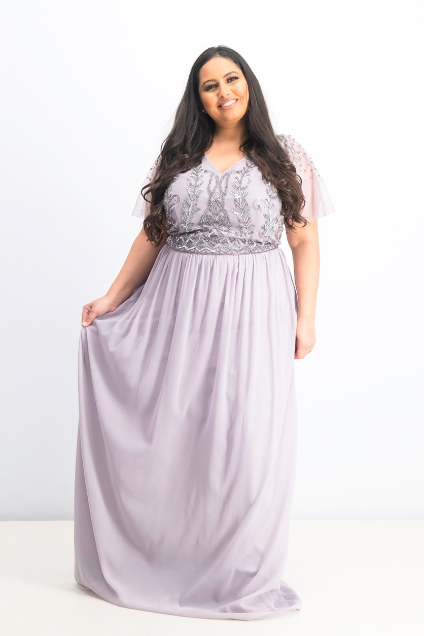Women's Textured Gown, Lavender/Silver
