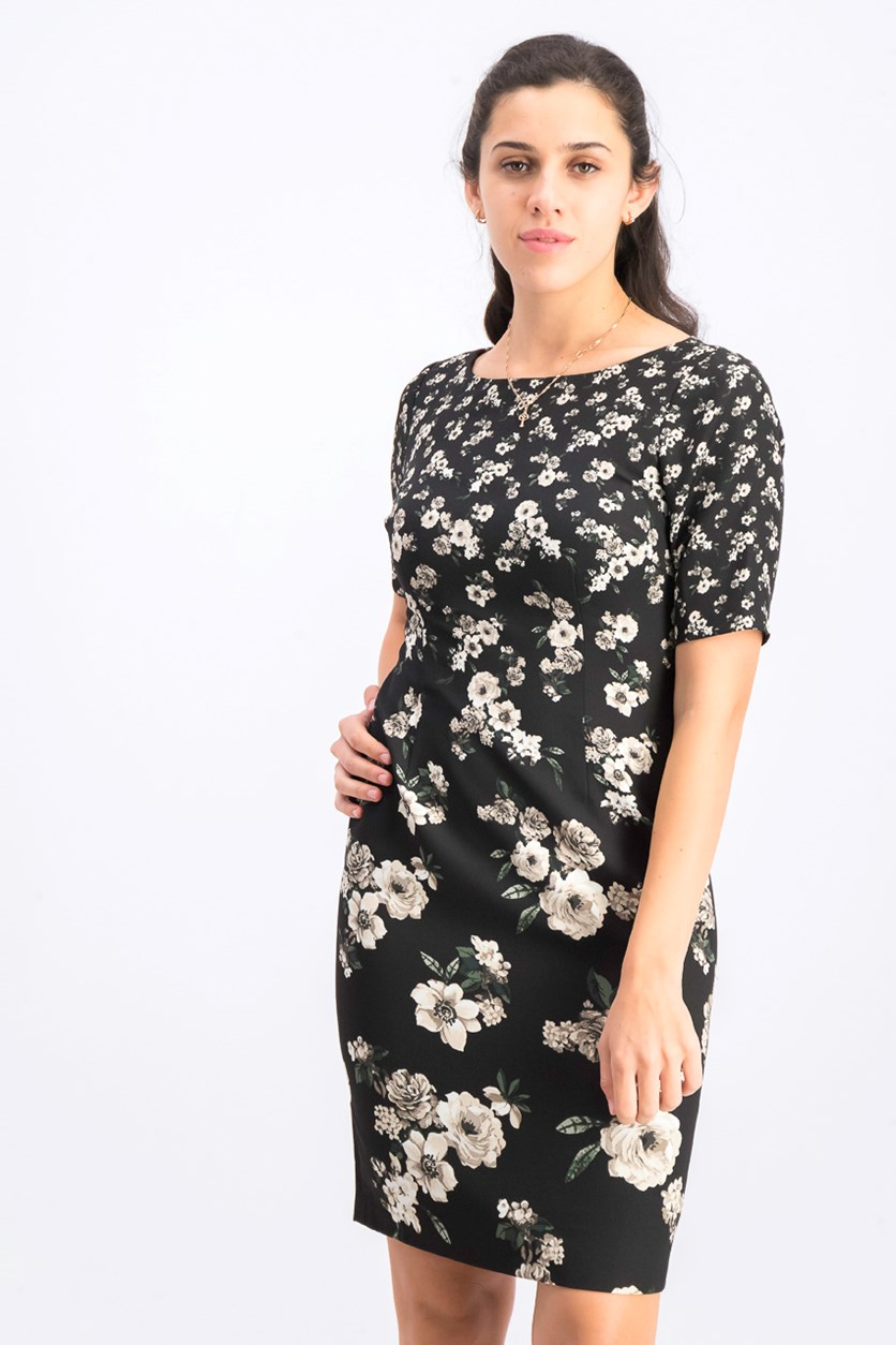 Women's Floral Print Sheath Dress, Black/Ivory Combo