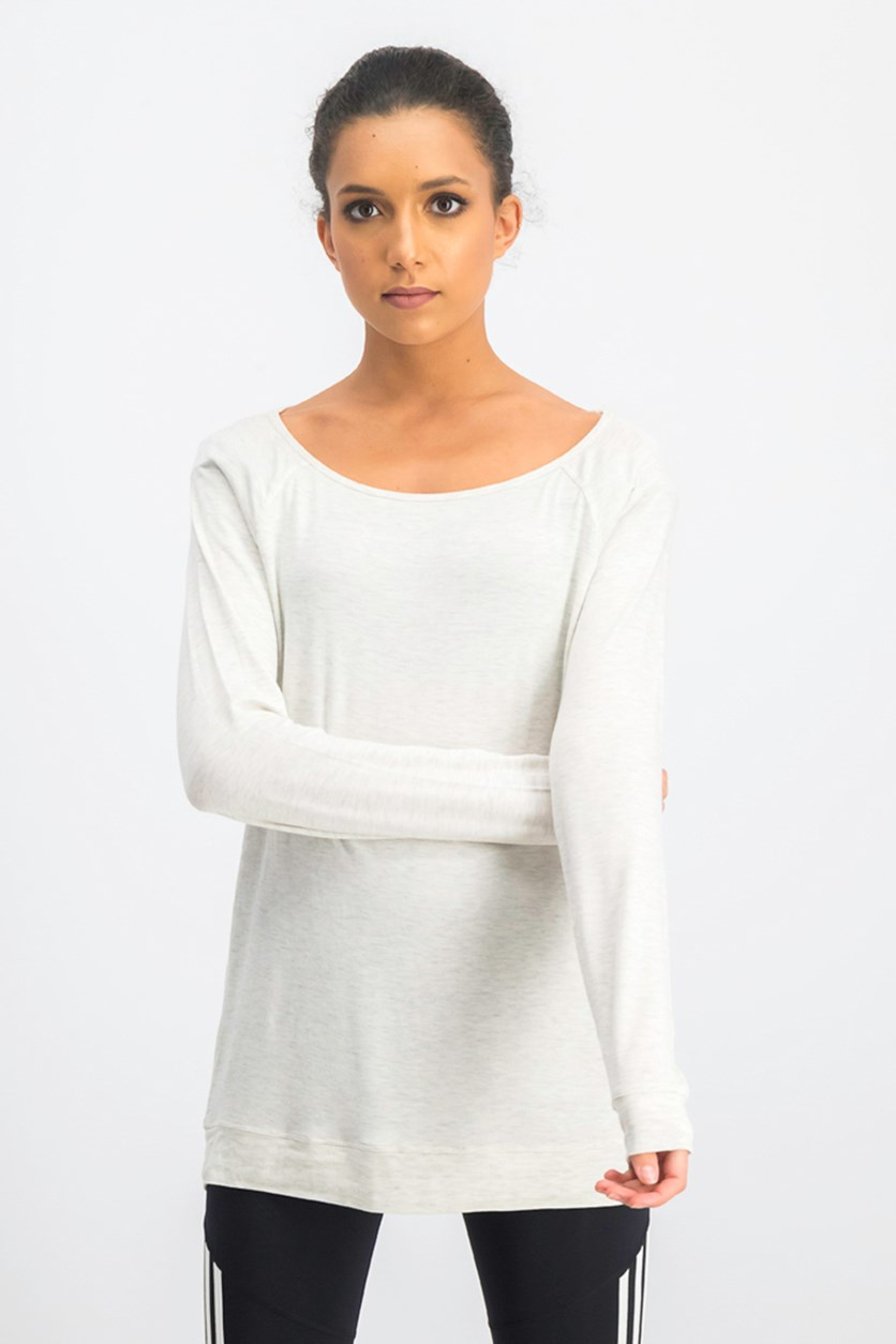 Women's Ruby Caged Back Tunic Sweatshirt, Oath Gray
