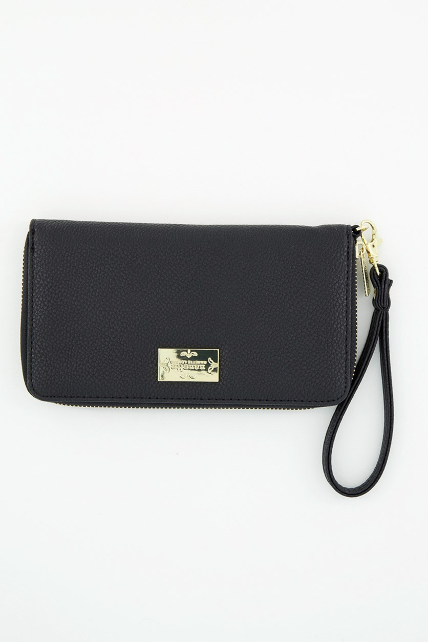 Women's Wristlet Zip Around Wallet, Black Pebble