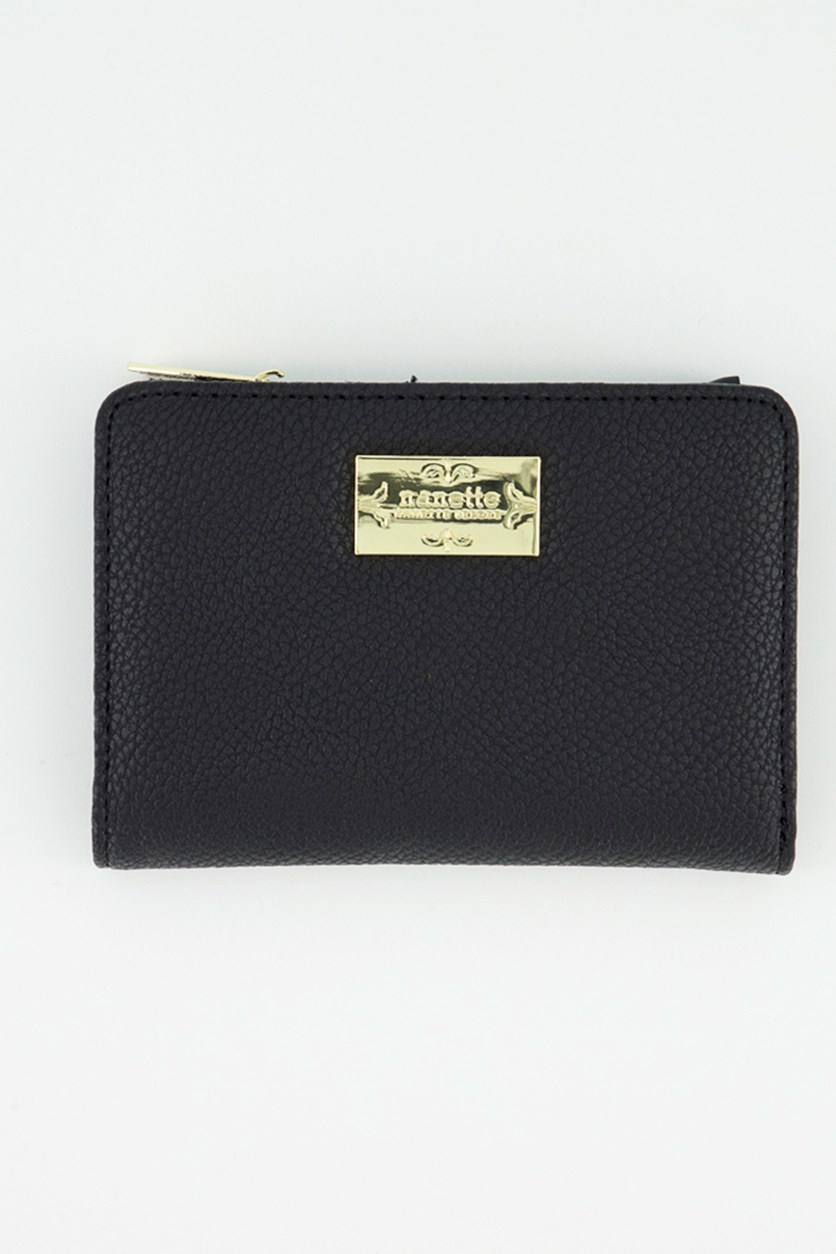 Women's Snap Wallet, Black Pebble