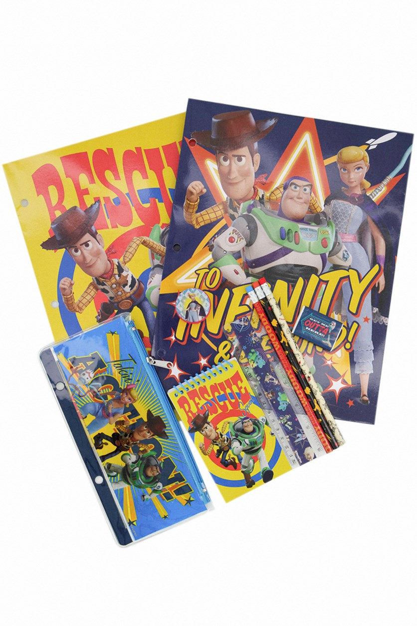 Toy Story Value Pack 10 Pcs 2 Folders Notebook, Blue Combo