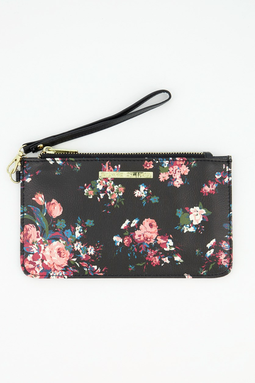 Floral Print Single Compartment Wallet, Black Combo