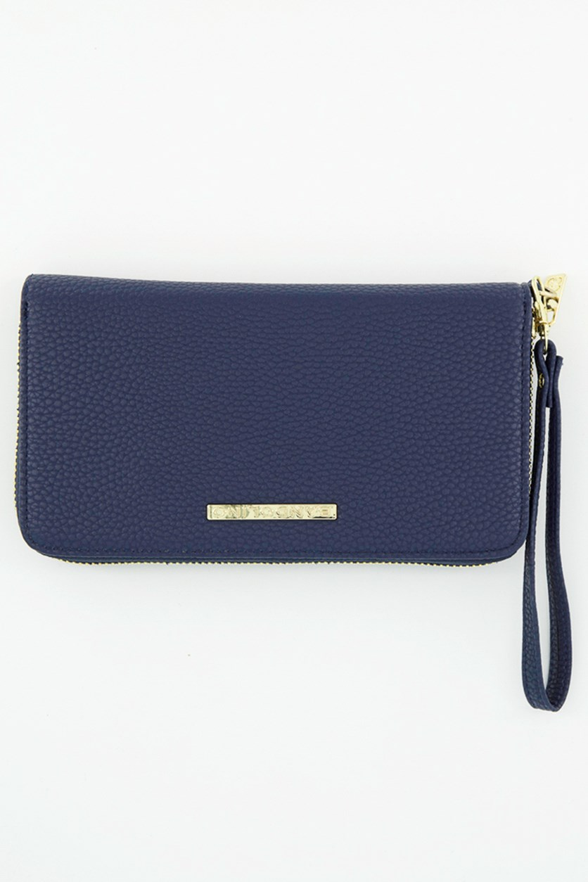 Women's  Wristlet Zip Around Wallet, Blue Pebble