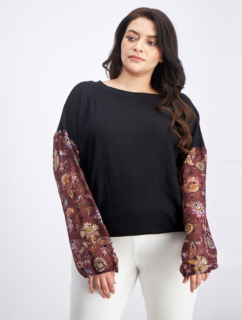 Women's Waffle-Knit Sheer-Sleeve Top, Black/ Burgundy