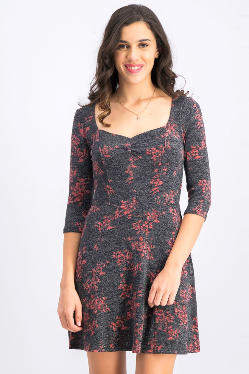Women's Printed Cinch Front Party Dress, Black/Red