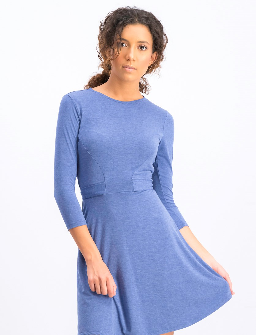 Womens Solid Tie Front Casual Dress, Heather Blue