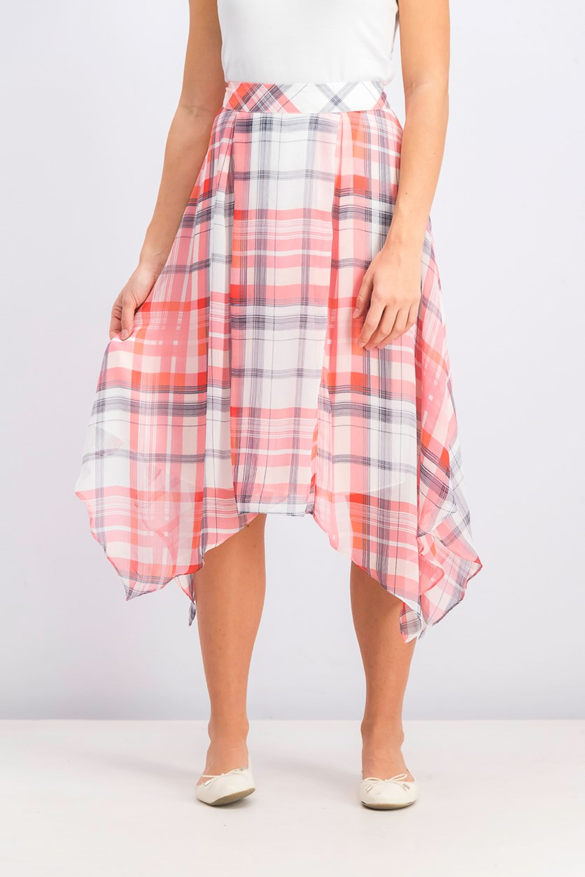 Women's Plaid Handkerchief Hem Skirt, Pink Combo