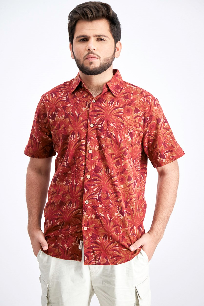 Men's Tropical Foliage Shirt, Red Pear