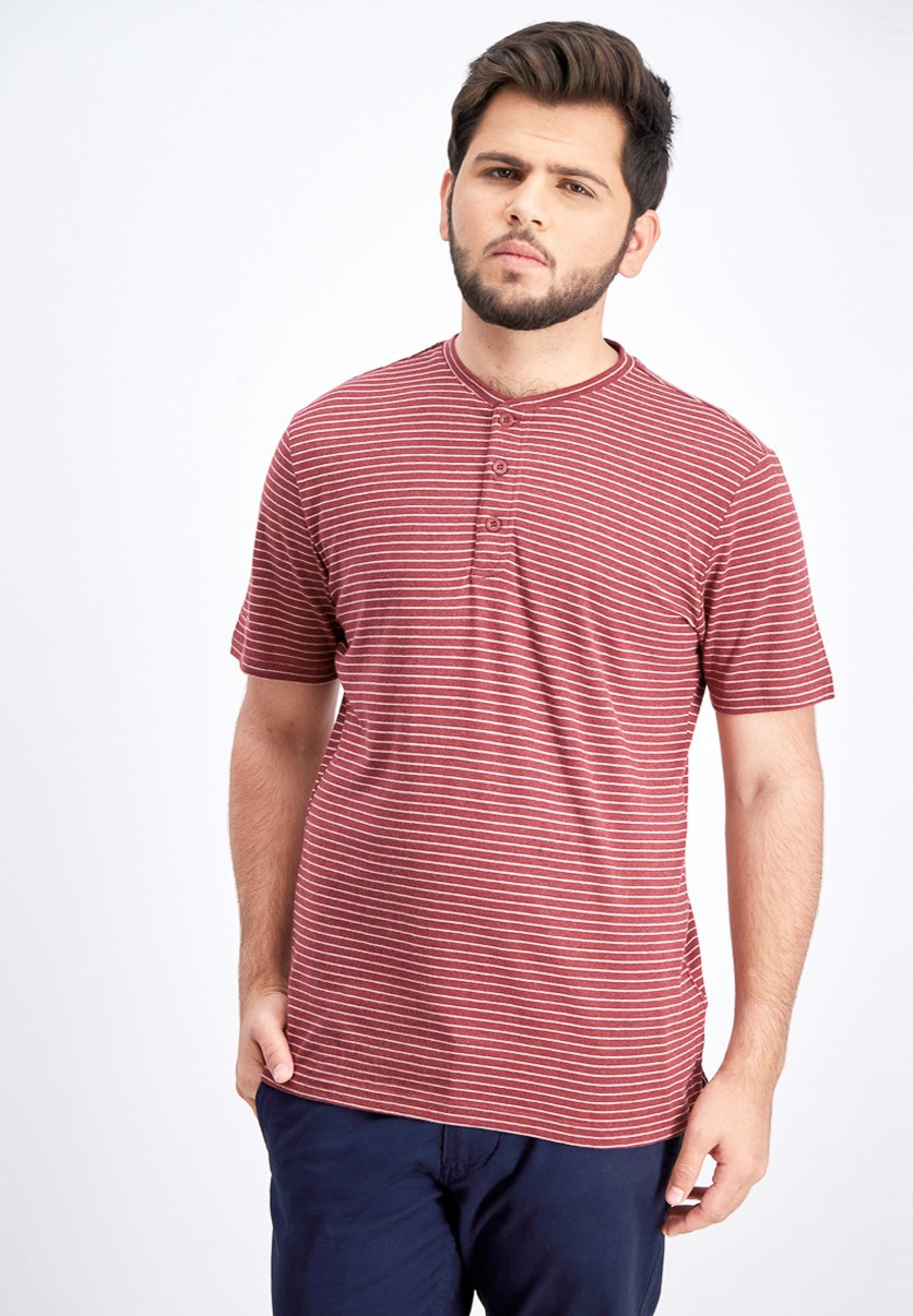 Men's Striped Henley Shirt, Red Pear