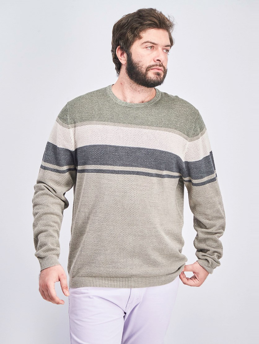Men's Striped Stonewashed Sweater, Olive/Tan