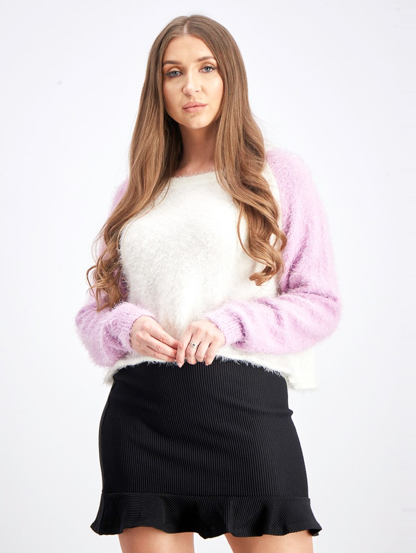 Women's Fuzzy Cropped Baseball Sweater, Violet/White