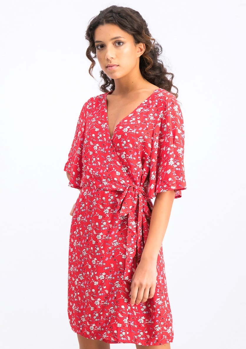 Women's Floral Print Faux Wrap Dress, Red Combo