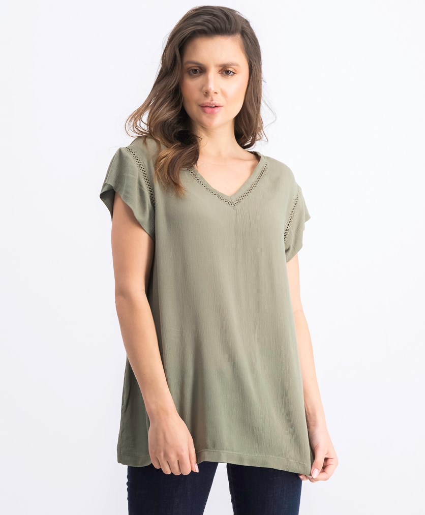 Women's Textured Tops, Green
