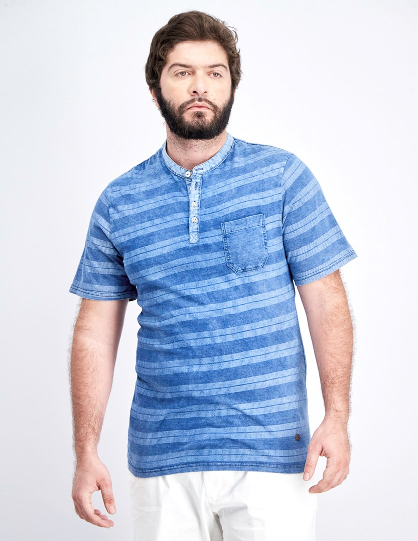 Men's Stripe Henley T-Shirt, Blue