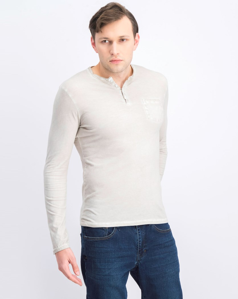 Men's Karid Solid Pocket Henley, Pearl
