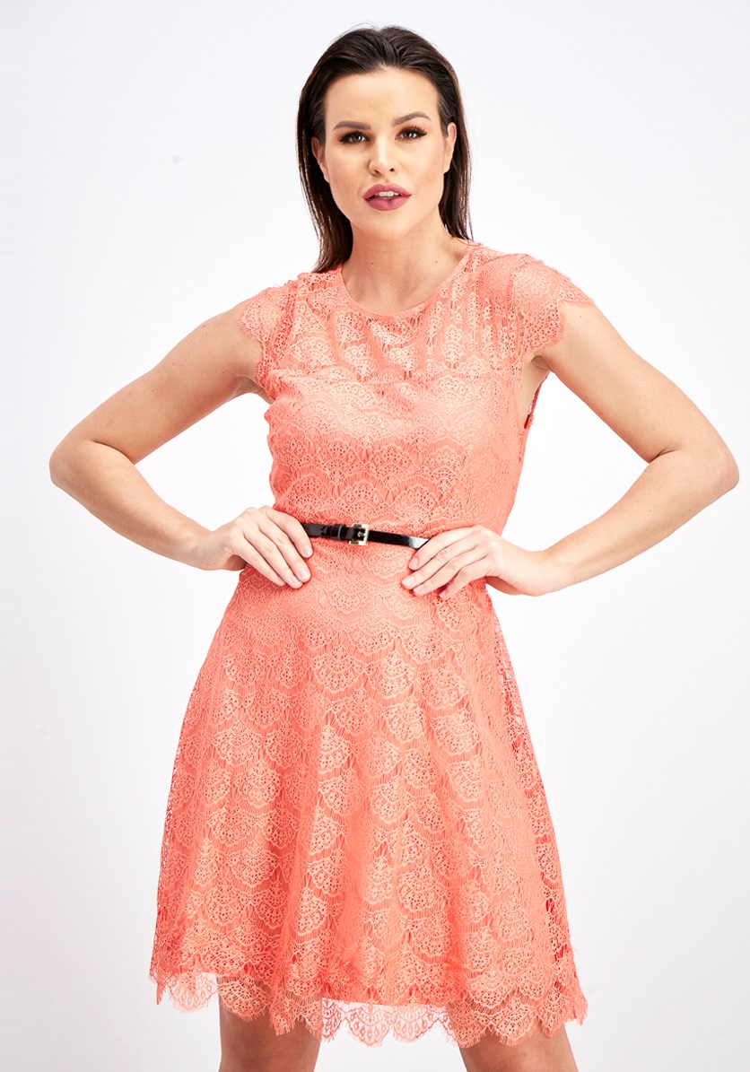 Sheer Back Cutout Lace Dress, Coral