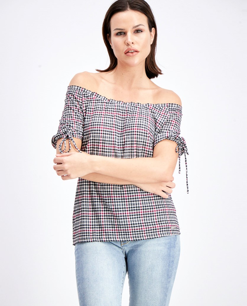 Women's Glen Plaid Off Shoulder Top, Bone/Garnet
