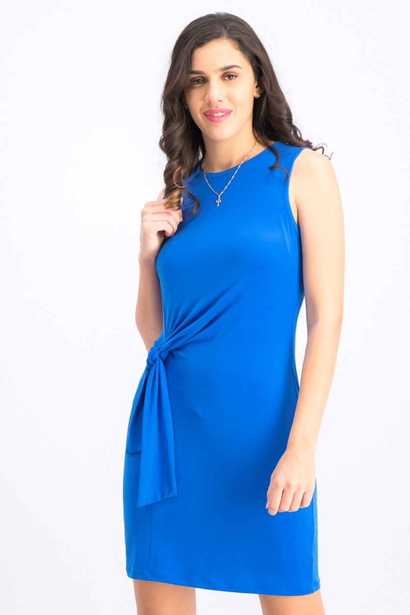 Womens Tie-Detail Jersey Mini Dress, Grecian Blue