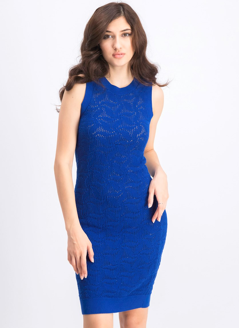 Women's Sweater-Lace Sheath Dress, Twilight Blue